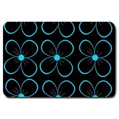 Blue Flowers Large Doormat  by Valentinaart