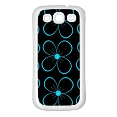 Blue Flowers Samsung Galaxy S3 Back Case (white) by Valentinaart