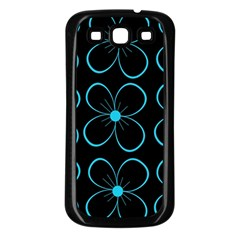 Blue Flowers Samsung Galaxy S3 Back Case (black) by Valentinaart