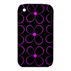 Purple Floral Pattern Apple Iphone 3g/3gs Hardshell Case (pc+silicone) by Valentinaart