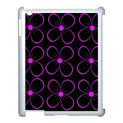 Purple Floral Pattern Apple Ipad 3/4 Case (white) by Valentinaart