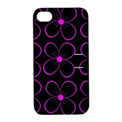 Purple Floral Pattern Apple Iphone 4/4s Hardshell Case With Stand by Valentinaart