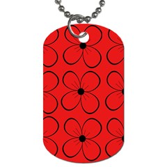 Red Floral Pattern Dog Tag (one Side) by Valentinaart