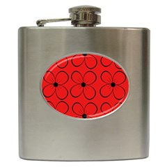 Red Floral Pattern Hip Flask (6 Oz) by Valentinaart