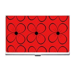Red Floral Pattern Business Card Holders by Valentinaart