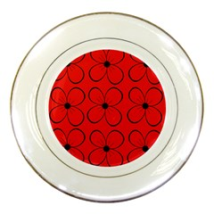 Red Floral Pattern Porcelain Plates by Valentinaart