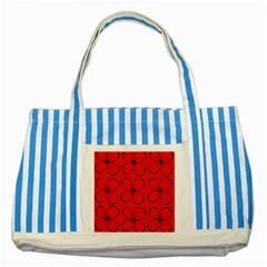 Red Floral Pattern Striped Blue Tote Bag by Valentinaart
