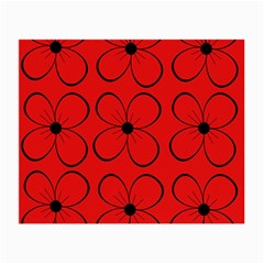Red Floral Pattern Small Glasses Cloth (2-side) by Valentinaart
