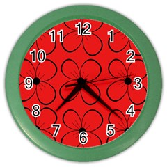Red Floral Pattern Color Wall Clocks