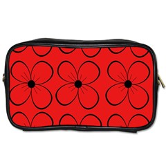 Red Floral Pattern Toiletries Bags 2 Side by Valentinaart