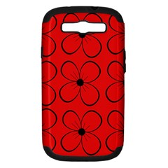 Red Floral Pattern Samsung Galaxy S Iii Hardshell Case (pc+silicone) by Valentinaart