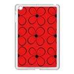 Red floral pattern Apple iPad Mini Case (White) Front