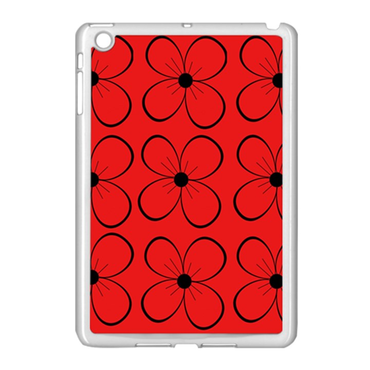 Red floral pattern Apple iPad Mini Case (White)