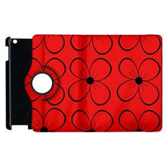 Red Floral Pattern Apple Ipad 2 Flip 360 Case by Valentinaart
