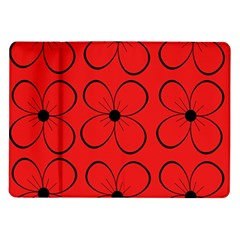 Red Floral Pattern Samsung Galaxy Tab 10 1  P7500 Flip Case by Valentinaart