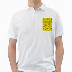 Yellow Floral Pattern Golf Shirts by Valentinaart
