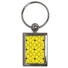 Yellow Floral Pattern Key Chains (rectangle)  by Valentinaart