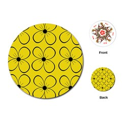 Yellow Floral Pattern Playing Cards (round)  by Valentinaart