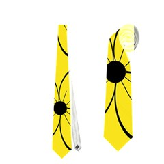 Yellow Floral Pattern Neckties (two Side)  by Valentinaart