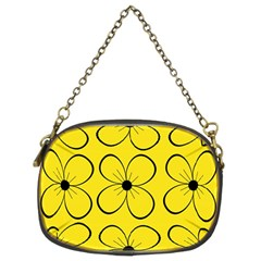Yellow Floral Pattern Chain Purses (two Sides)  by Valentinaart