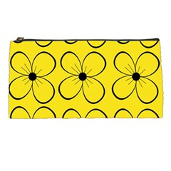 Yellow Floral Pattern Pencil Cases by Valentinaart