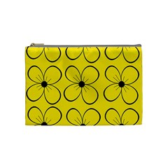 Yellow Floral Pattern Cosmetic Bag (medium)  by Valentinaart