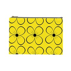 Yellow Floral Pattern Cosmetic Bag (large)  by Valentinaart