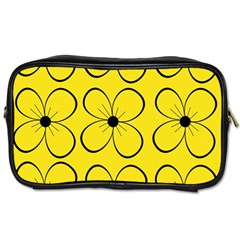 Yellow Floral Pattern Toiletries Bags 2 Side by Valentinaart