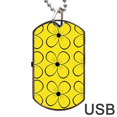Yellow Floral Pattern Dog Tag Usb Flash (two Sides)
