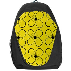 Yellow Floral Pattern Backpack Bag by Valentinaart