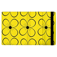 Yellow Floral Pattern Apple Ipad 2 Flip Case by Valentinaart