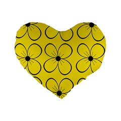 Yellow Floral Pattern Standard 16  Premium Heart Shape Cushions