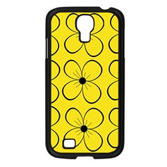 Yellow Floral Pattern Samsung Galaxy S4 I9500/ I9505 Case (black) by Valentinaart