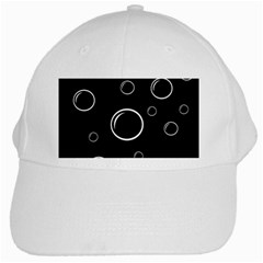 Black And White Bubbles White Cap by Valentinaart