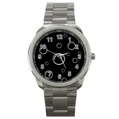 Black And White Bubbles Sport Metal Watch by Valentinaart