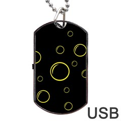 Yellow Bubbles Dog Tag Usb Flash (one Side) by Valentinaart