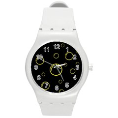 Yellow Bubbles Round Plastic Sport Watch (m) by Valentinaart