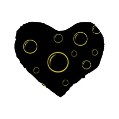 Yellow Bubbles Standard 16  Premium Flano Heart Shape Cushions by Valentinaart