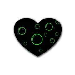 Green Buubles Pattern Heart Coaster (4 Pack)  by Valentinaart