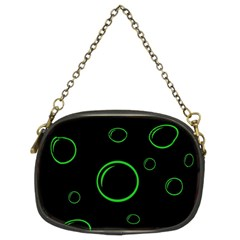Green Buubles Pattern Chain Purses (two Sides)  by Valentinaart