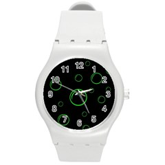 Green Buubles Pattern Round Plastic Sport Watch (m)