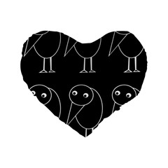 Black And White Birds Standard 16  Premium Flano Heart Shape Cushions by Valentinaart