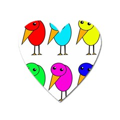 Colorful Birds Heart Magnet by Valentinaart