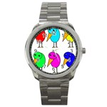 Colorful birds Sport Metal Watch Front