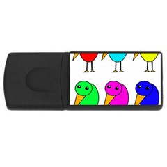 Colorful Birds Usb Flash Drive Rectangular (4 Gb)  by Valentinaart