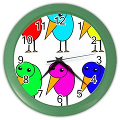 Colorful Birds Color Wall Clocks by Valentinaart