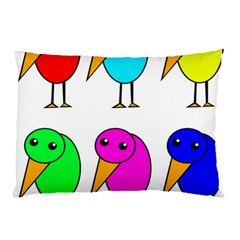 Colorful Birds Pillow Case by Valentinaart