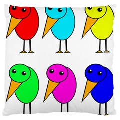 Colorful Birds Large Flano Cushion Case (one Side) by Valentinaart