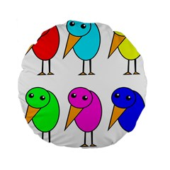 Colorful Birds Standard 15  Premium Flano Round Cushions by Valentinaart