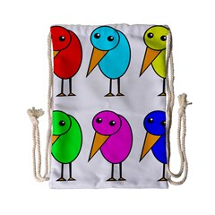 Colorful Birds Drawstring Bag (small) by Valentinaart
